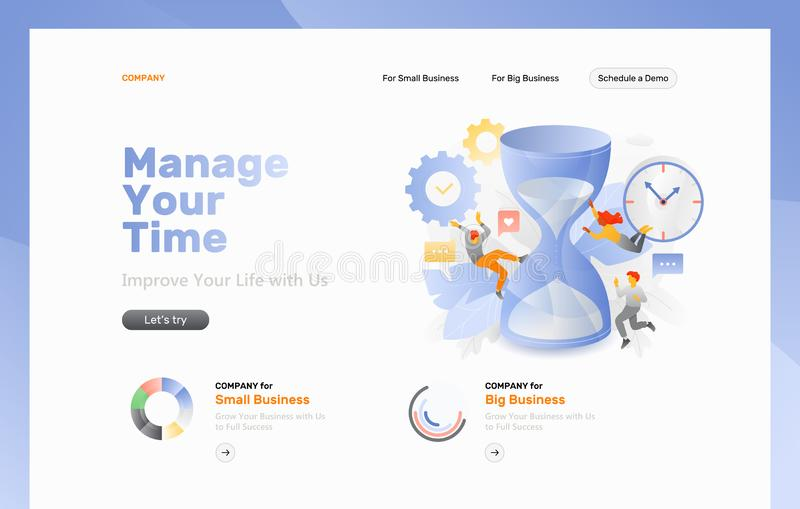Página da web da gestão de tempo ilustração do vetor