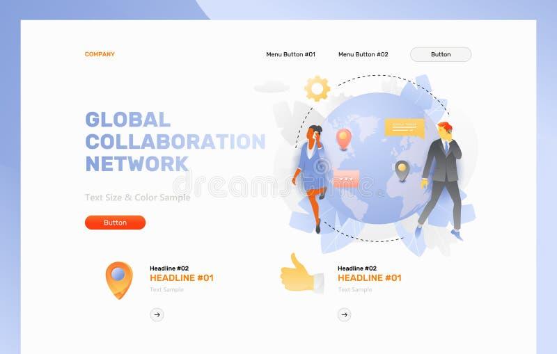 Página da web global da rede da colaboração ilustração stock