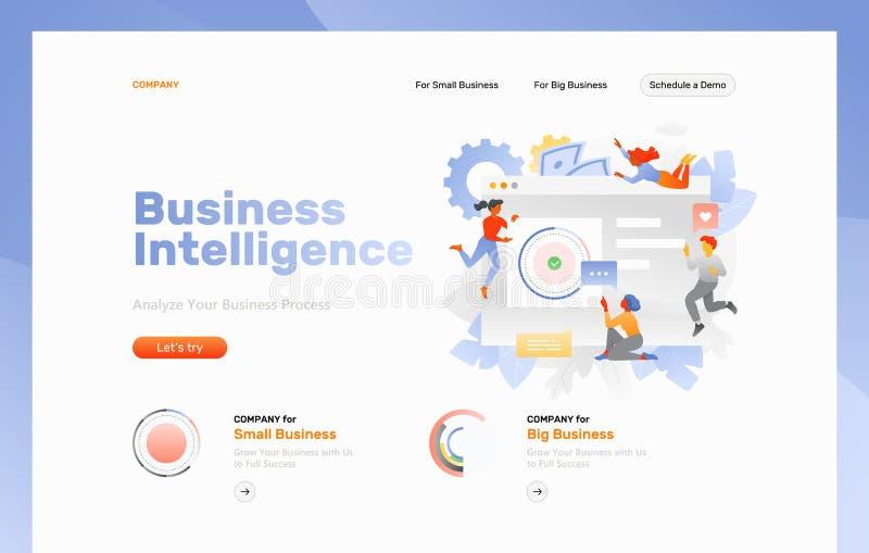 Página da web da inteligência empresarial ilustração royalty free