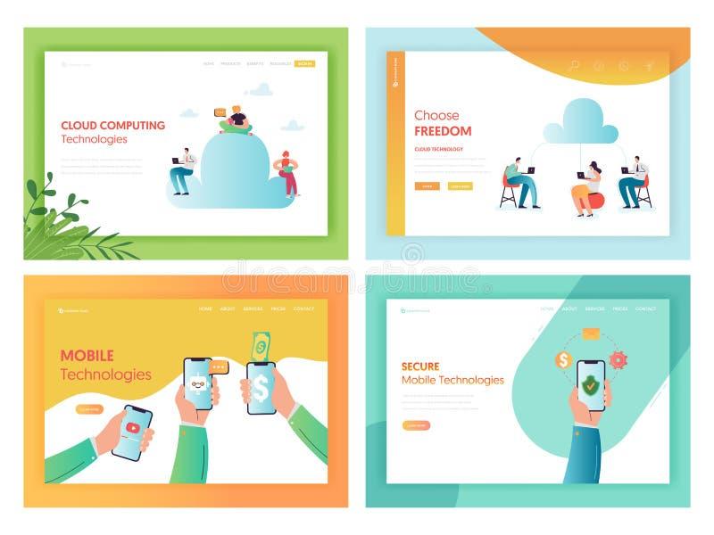 Página da web móvel do conceito das tecnologias do armazenamento da nuvem ilustração stock