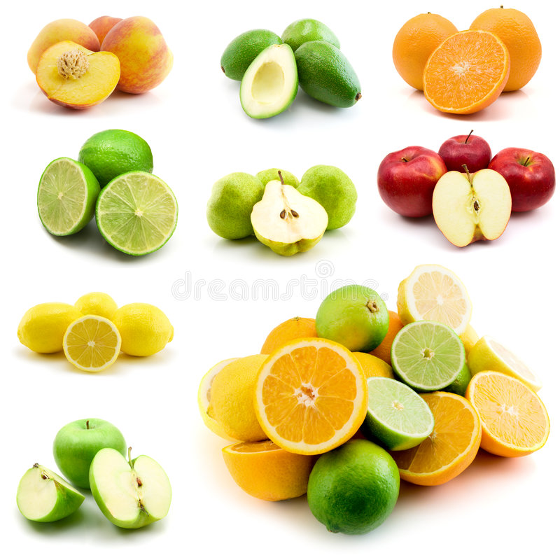 Página das frutas isoladas no branco imagens de stock