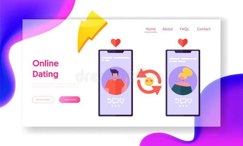 Página datando em linha da aterrissagem do conceito da aplicação Homem e perfil fêmea na rede social Acople ter o Web site de con ilustração stock