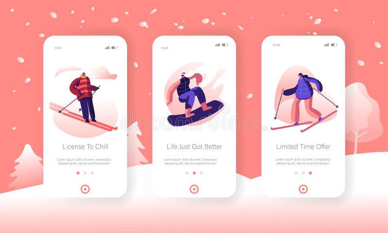 Página de aplicación móvil Winter Sport and Recreation Lifestyle en pantalla integrada. Atleta esquiando y snowboarding ilustración del vector