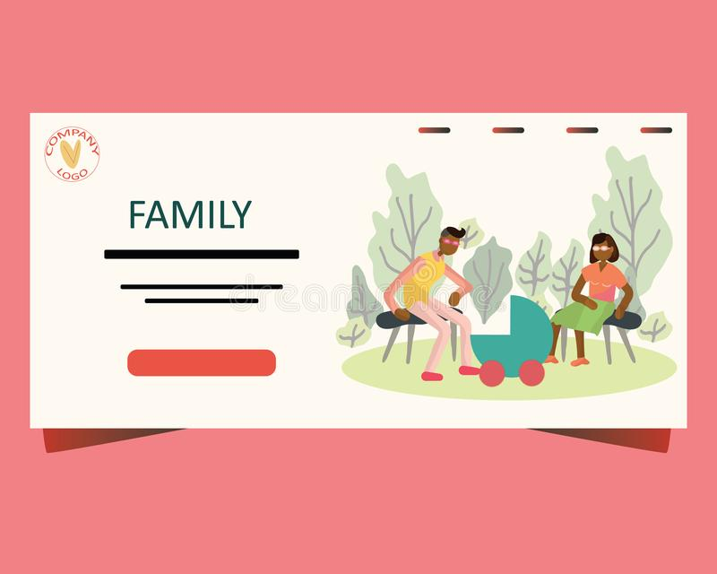 Página de aterrissagem com a família recém-nascida no parque ilustração do vetor