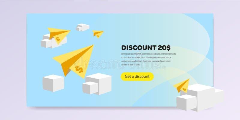 Página de aterrissagem com ilustração do vetor da promoção horizontalmente ilustração royalty free