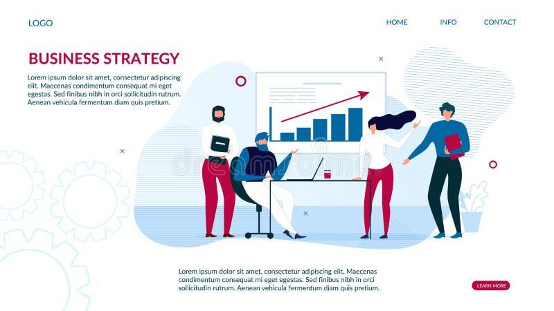 Página de aterrissagem da estratégia empresarial para a análise de dados ilustração stock