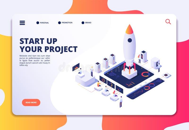 Página de aterrissagem da partida Lançamento bem sucedido do projeto, pessoa isométrico do foguete no painel Negócio criativo, pe ilustração stock