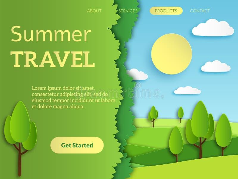 Página de aterrissagem do curso projeto móvel de viagem do app da Web da reserva do feriado com vetor de papel da paisagem do hor ilustração royalty free