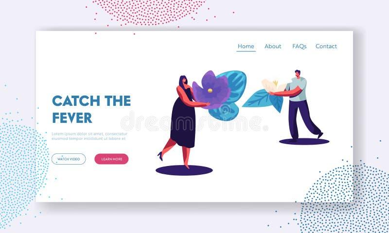 Página de aterrissagem do Web site do perfume, Perfumer Characters Holding Ingredients para criar a composição nova Violet Flower ilustração stock