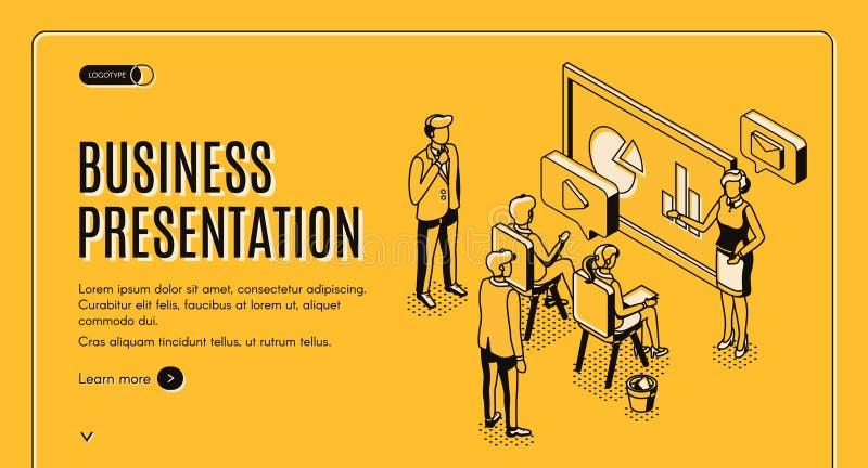 Página de aterrissagem isométrica da apresentação do negócio ilustração stock