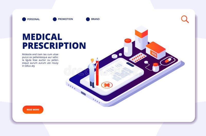 Página de aterrissagem isométrica da farmácia Comprimidos de compra do farmacêutico e do cliente na drograria Vetor 3d da medicin ilustração stock