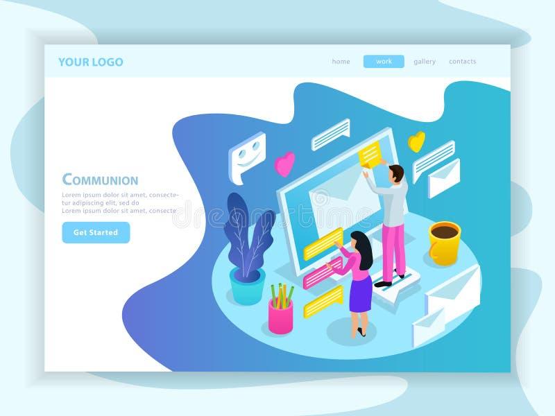 Página de aterrissagem isométrica de uma comunicação virtual ilustração stock
