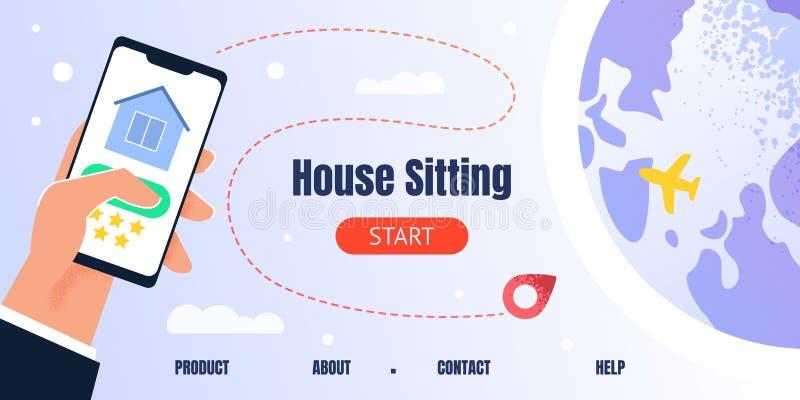 Página de aterrissagem para o App móvel de assento da busca da casa ilustração do vetor