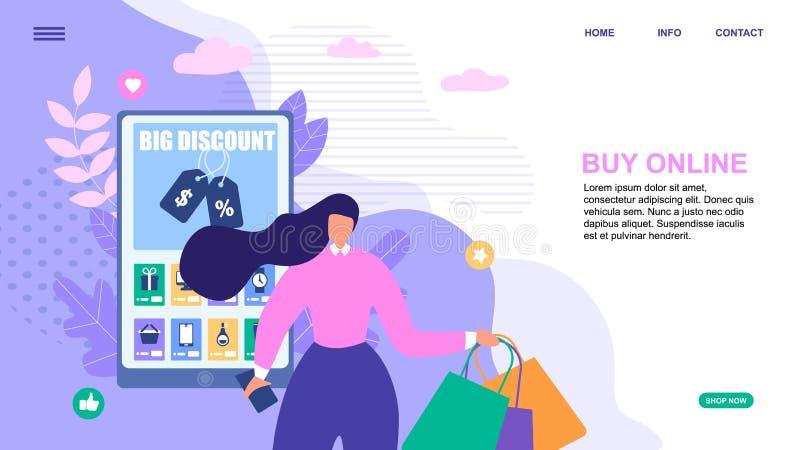 A página de aterrissagem promove comprar em linha e desconto ilustração stock