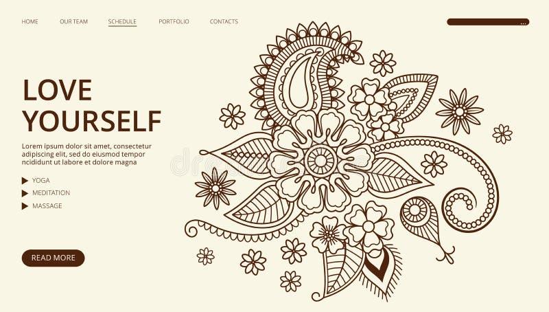 Página de aterrizaje del centro de la yoga Bandera de la web del ornamento floral del vector Ame usted mismo plantilla de la pági stock de ilustración