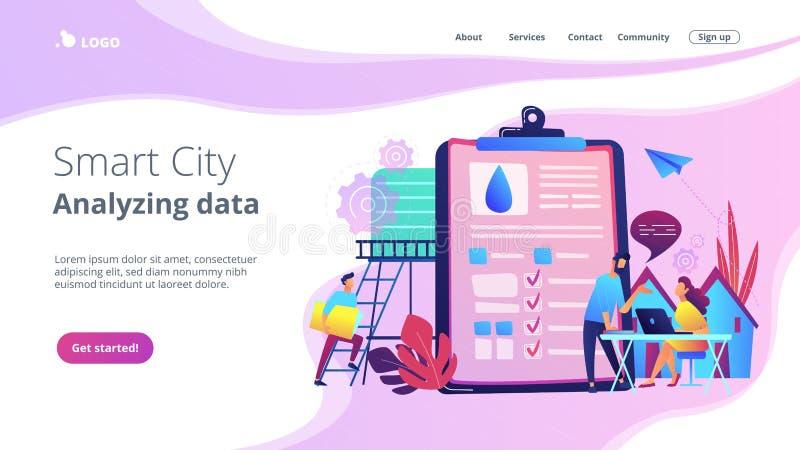 Página de aterrizaje del cityconcept elegante del gestión del agua ilustración del vector