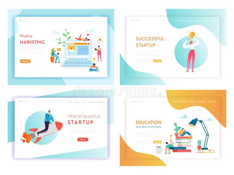 Página de aterrizaje del concepto de las innovaciones del negocio de la idea ilustración del vector