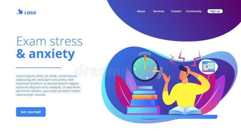 Página de aterrizaje del concepto de los exámenes y de las pruebas ilustración del vector