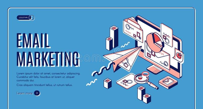 Página de aterrizaje del márketing del correo electrónico, servicios del spammer stock de ilustración