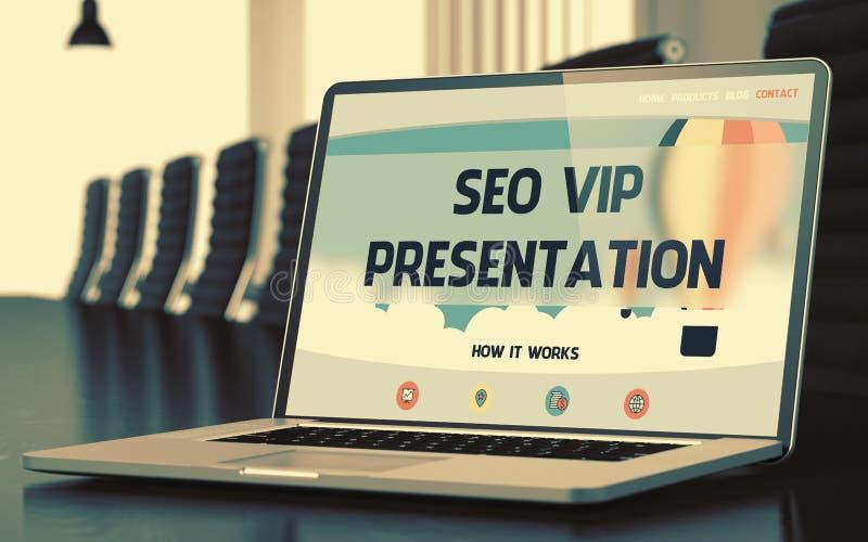 Página de aterrizaje del ordenador portátil con concepto de la presentación de SEO VIP 3d imagen de archivo libre de regalías