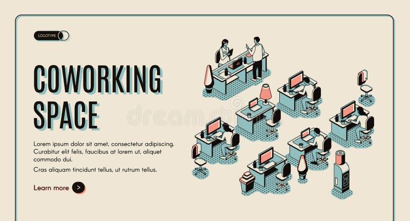 Página de aterrizaje isométrica del espacio de Coworking Trabajo en equipo ilustración del vector
