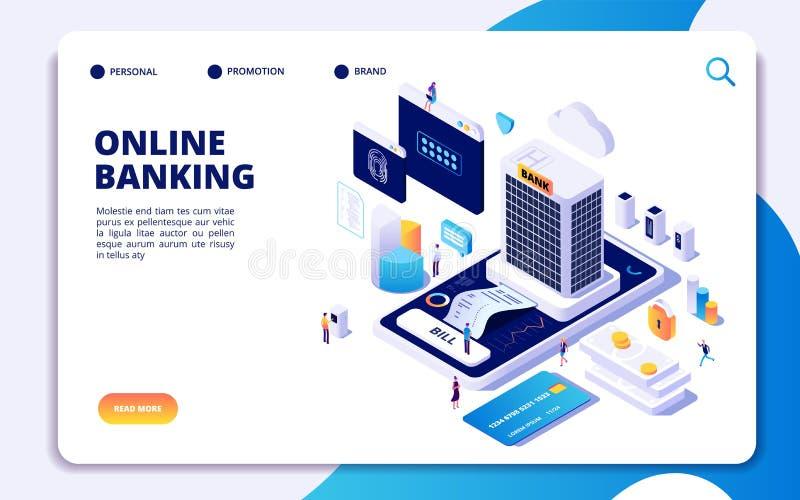 Página de aterrizaje isométrica de la actividad bancaria en línea Transferencias monetarias de Internet, smartphone seguro del pa ilustración del vector