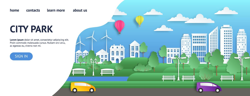 Página de aterrizaje de la ciudad Ciudad de papel del verano en la página web del estilo de la papiroflexia, página web verde del stock de ilustración