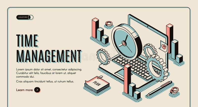 Página de aterrizaje de la gestión de tiempo, tiempo de trabajo de planificación stock de ilustración