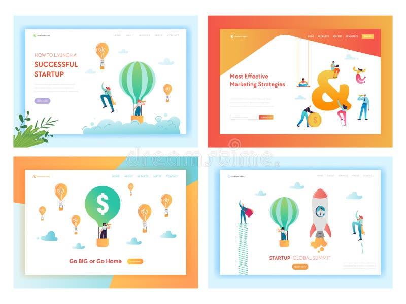 Página de aterrizaje de lanzamiento acertada de las soluciones del negocio ilustración del vector