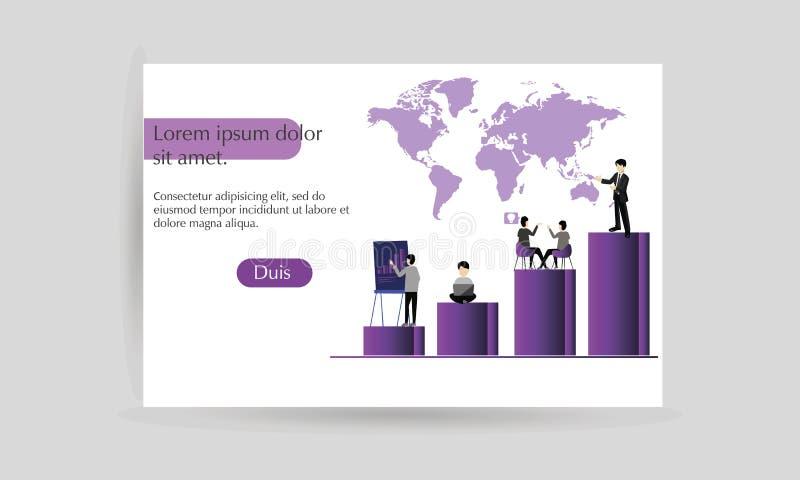 Página de aterrizaje para el márketing digital, trabajo en equipo, estrategia empresarial Conceptos modernos para un sitio web Ve stock de ilustración