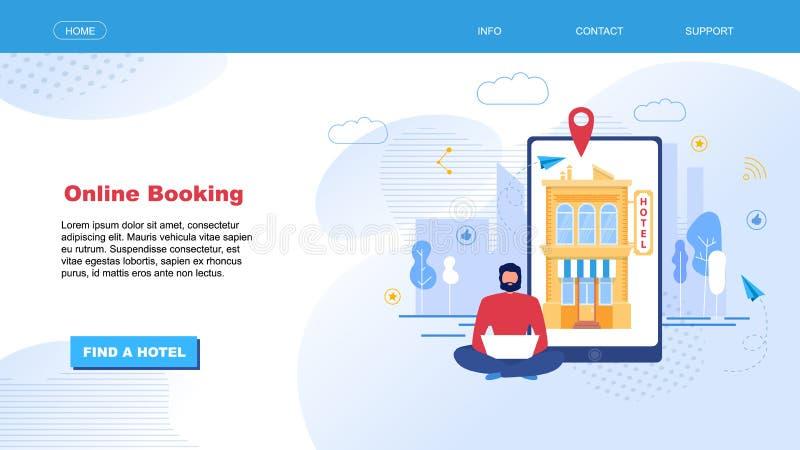 Página de aterrizaje para la búsqueda y la reservación del hotel en línea stock de ilustración
