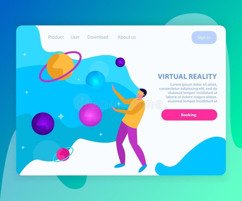 Página de aterrizaje plana de la realidad virtual ilustración del vector
