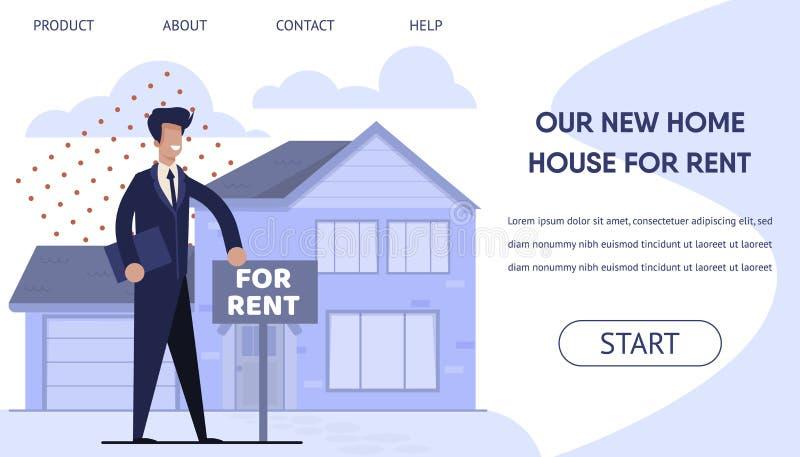 Página de aterrizaje de Real Estate del alquiler con la reservación en línea stock de ilustración
