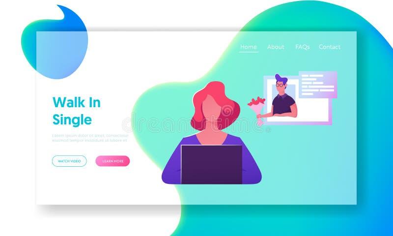 Página de charla en línea del aterrizaje de la página web, mujer joven que se sienta en el ordenador portátil que busca al socio  stock de ilustración