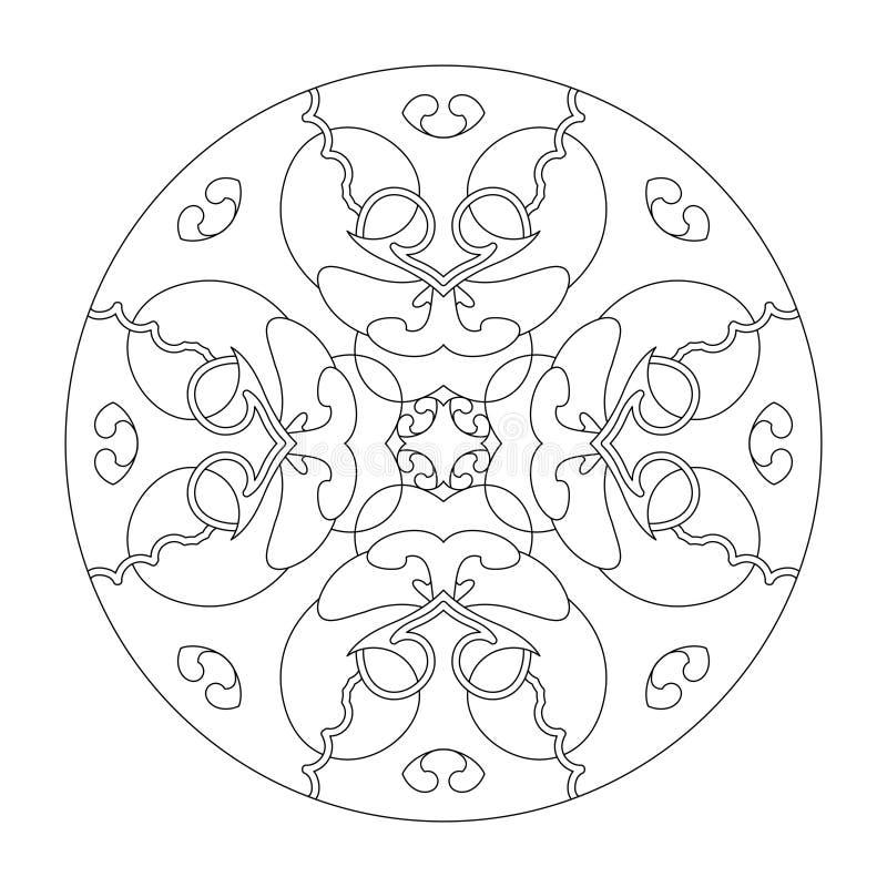 Página de color de Mandala Mandala cardíaca Página de color, ilustración vectorial negro y blanco Terapia artística Elementos dec imagenes de archivo