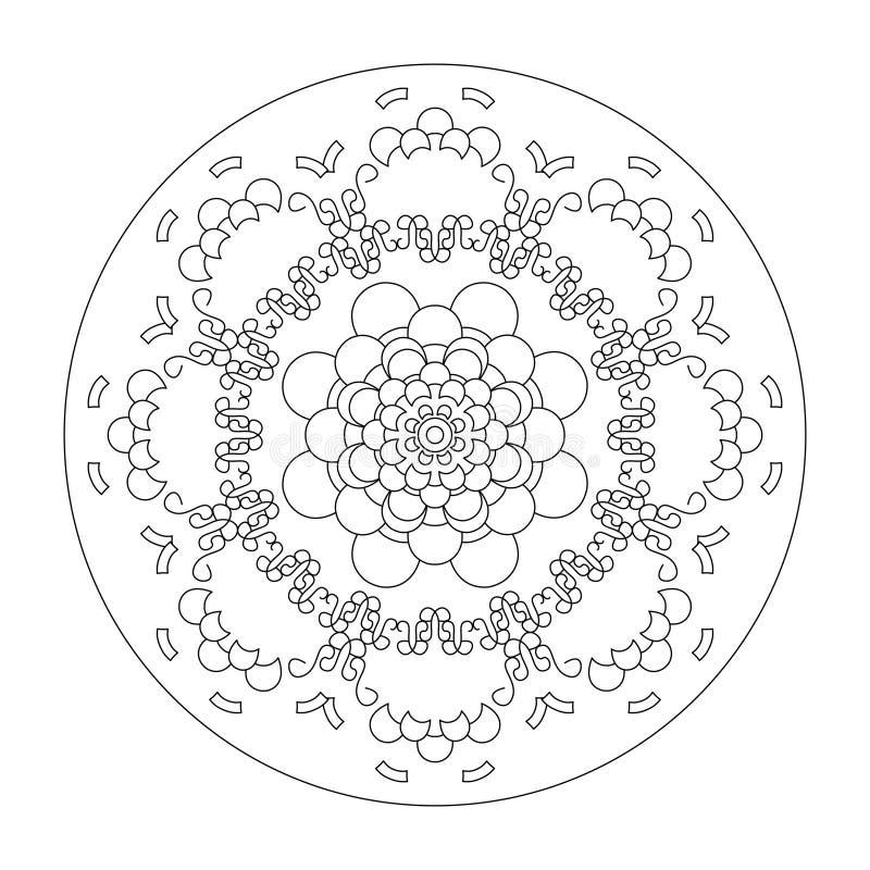 Página de color Mandala, ilustración vectorial negro y blanco Terapia artística Elementos decorativos imagenes de archivo