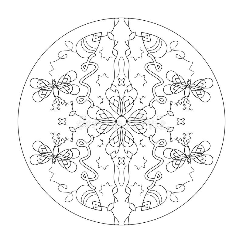 Página de color de Mandala Mariposas mandala, ilustración vectorial negro y blanco Terapia artística Elementos decorativos imagen de archivo libre de regalías