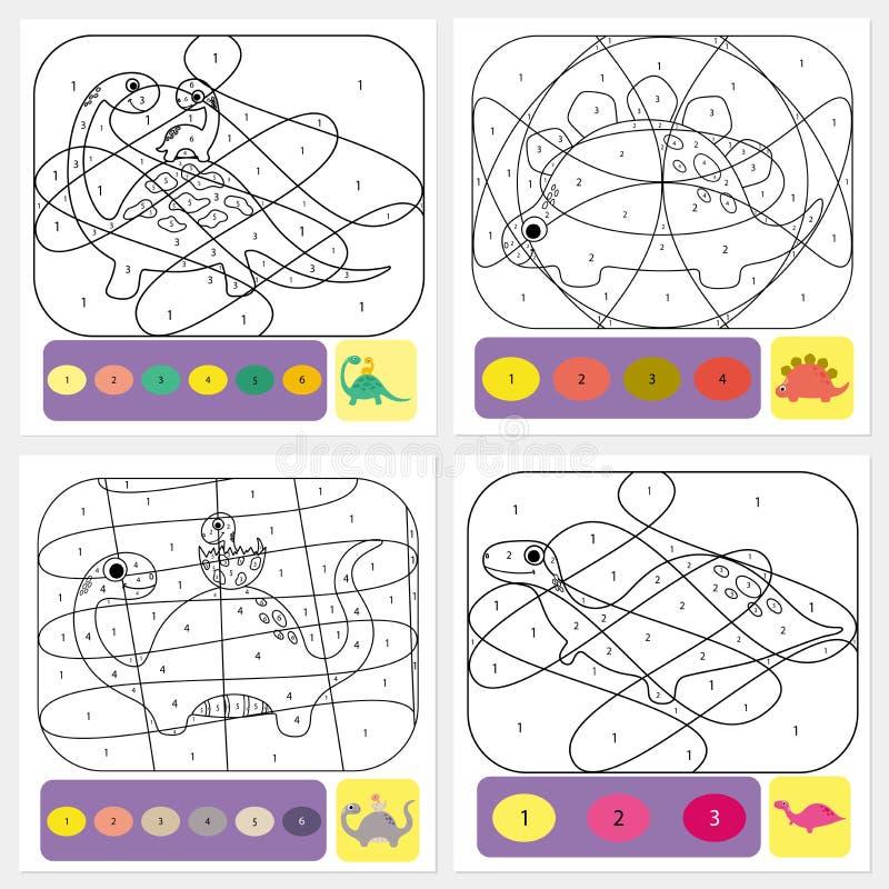 Página de colorear dino para niños. Rompecabezas de colores con números de color ilustración del vector
