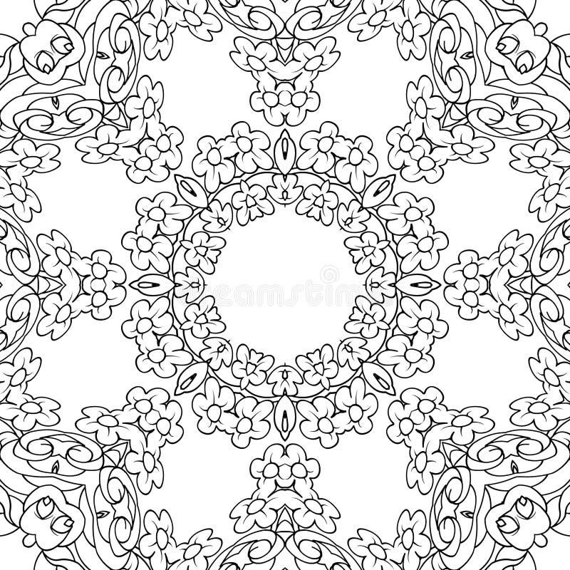 Página de colorir floral para crianças e adultos imagens de stock royalty free