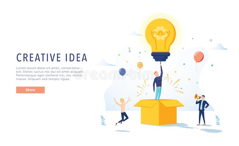 Página de Creative Idea Landing del redactor de anuncios Concepto de la creatividad del negocio para la página web o la página we ilustración del vector