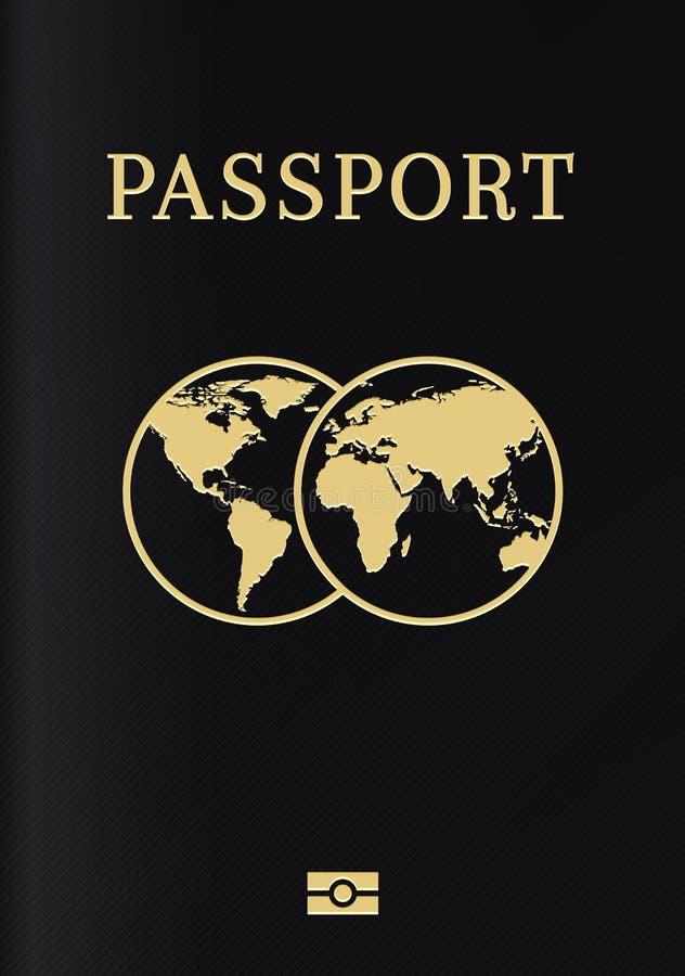 Página de cubierta biométrica internacional del pasaporte Página superior negra de un documento de la identificación del ciudadan ilustración del vector