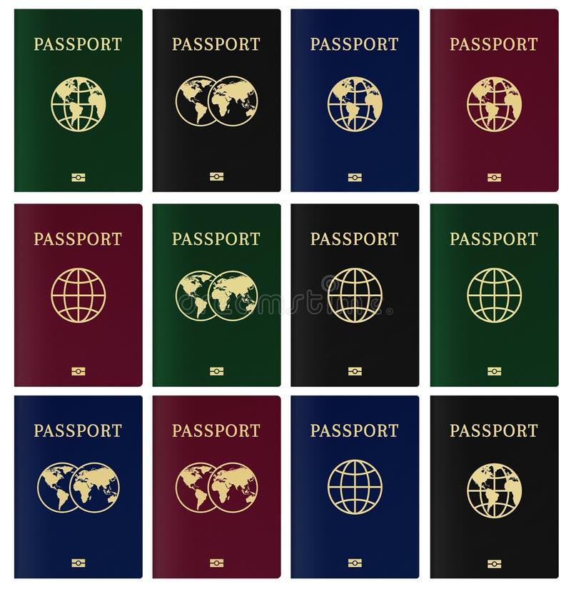 Página de cubierta del pasaporte biométrico Identificación del ciudadano con el microprocesador nano stock de ilustración
