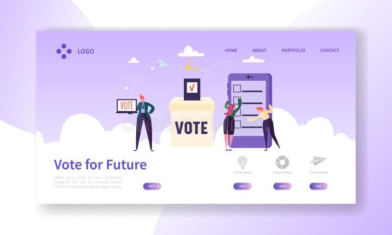 Página de E-votación en línea del aterrizaje del concepto del registro Hombre que vota en la elección electrónica del gobierno de ilustración del vector