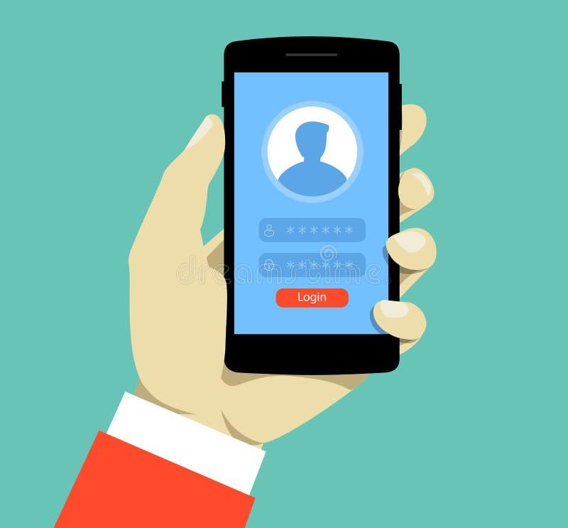 Página de inicio de sesión en la pantalla del smartphone Smartphone del control de la mano Cuenta móvil Ejemplo plano creativo de ilustración del vector