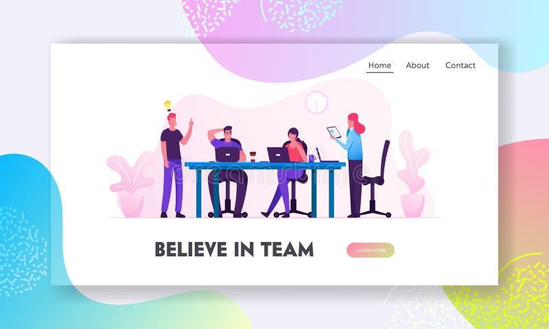 Página de inicio del sitio web de Brainstorm Personas creativas en el cargo tienen idea de trabajar juntas en la oficina Equipo c libre illustration