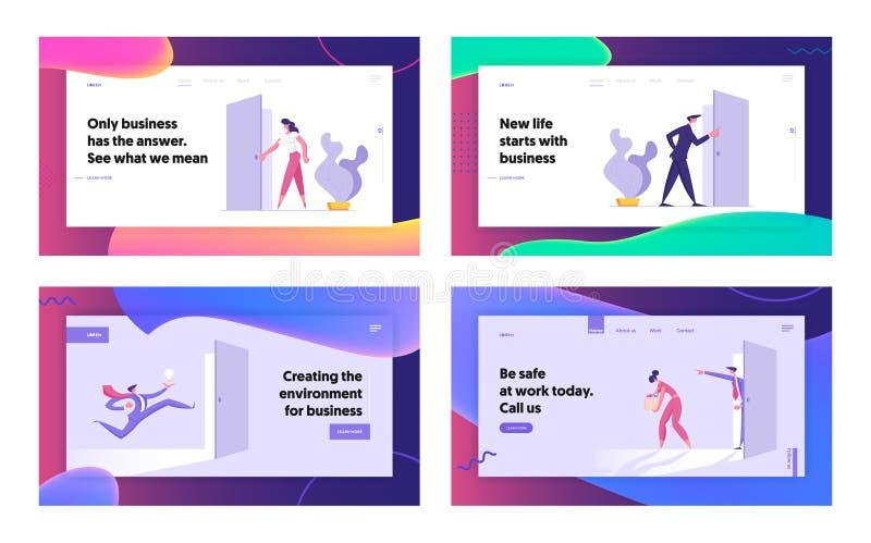 Página de inicio del sitio web de Business People Office Lifestyle, personajes en la entrada de puertas, nueva oportunidad, éxito stock de ilustración