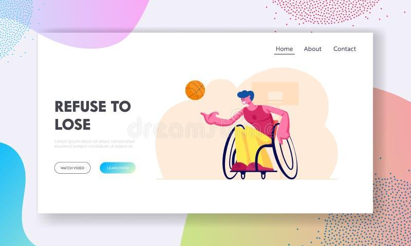 Página de inicio del sitio web de competencia paralímpica de baloncesto en silla de ruedas Deportista discapacitado juega con pel libre illustration