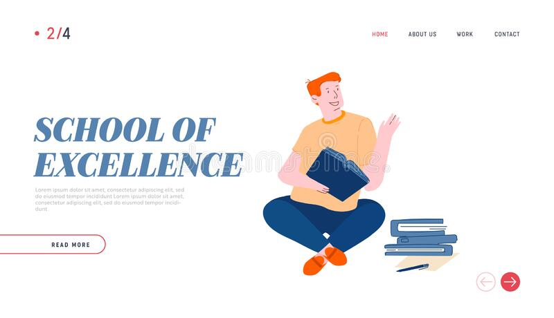 Página de inicio del sitio web de educación y conocimiento Joven estudiante sentada con libros aprendiendo a trabajar en casa ilustración del vector