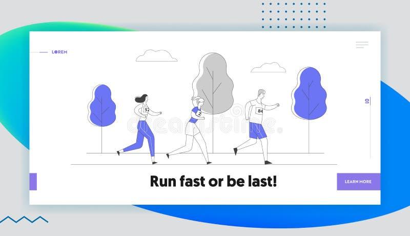 Página de inicio del sitio web Healthy Jogging Lifestyle. Deportistas llevan maratón en el paisaje natural ilustración del vector