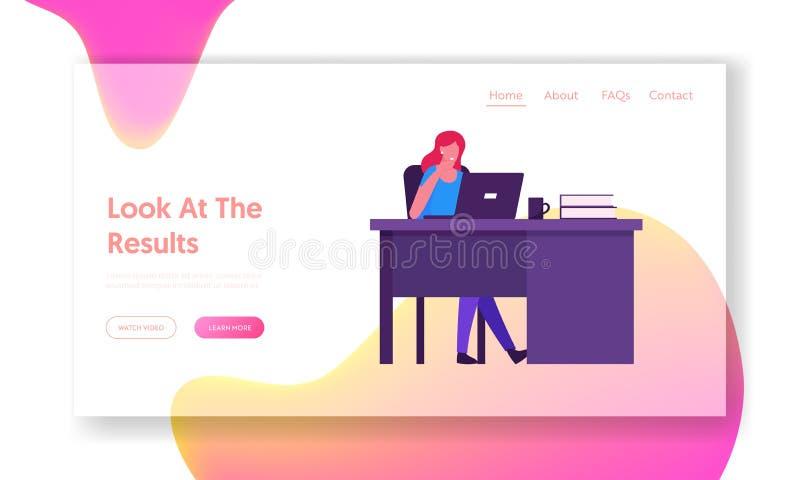 Página de inicio del sitio web de la empresa femenina exitosa Mujer feliz empleada de oficina en el lugar de trabajo sentada en e stock de ilustración